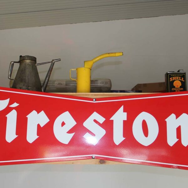 Originales Firestone-Emailschild mit 150 cm Breite; fabulous fifties
