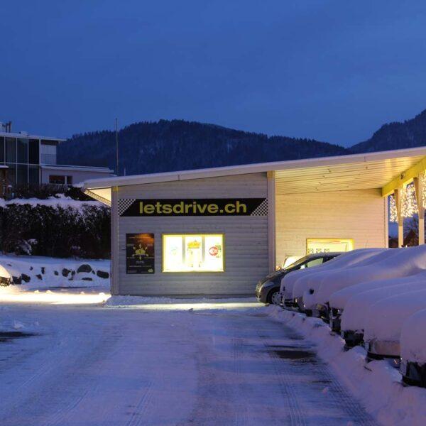 Sicht über den Präsentationsplatz nach Süden im Winter; fabulous fifties