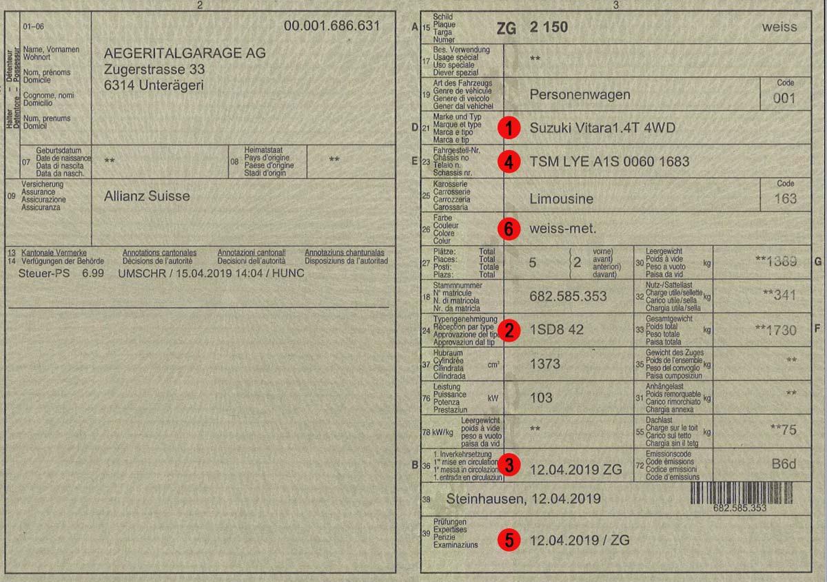 Fahrzeugausweis mit wichtigen Punkten für den Autoankauf
