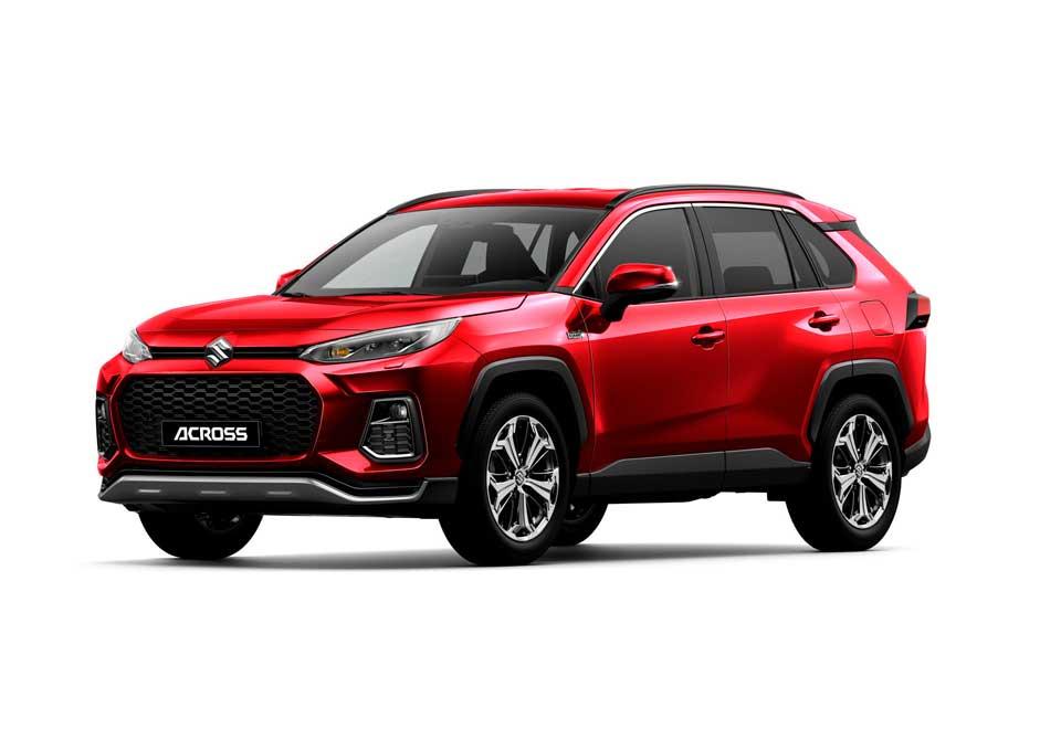 Der neue Suzuki Across Plug-in Hybrid in der Farbe rot metallic (Sensual Red Mica 3T3)